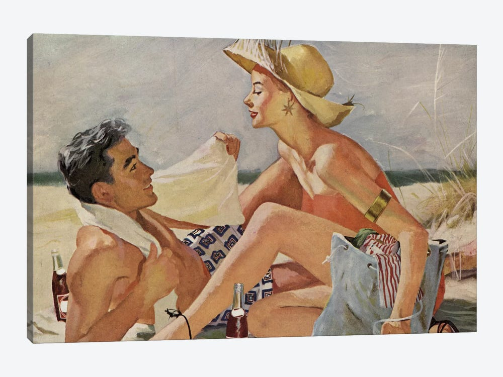 Glamourous Beach Couple by Hemingway Design 1-piece Canvas Print