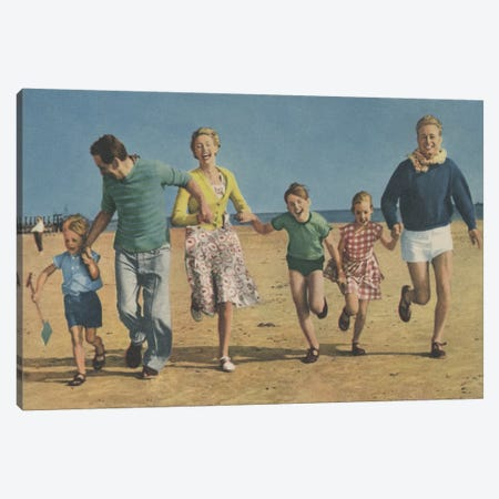 Happy Family Running Canvas Print #HEM39} by Hemingway Design Canvas Artwork