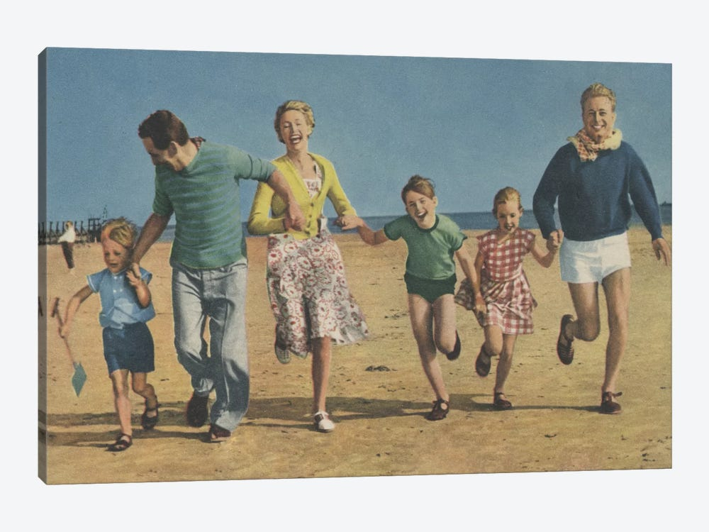 Happy Family Running by Hemingway Design 1-piece Canvas Print