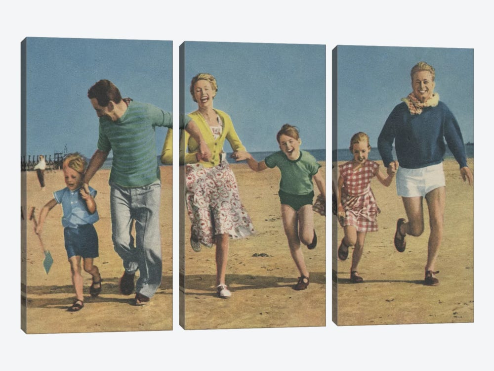 Happy Family Running by Hemingway Design 3-piece Canvas Art Print