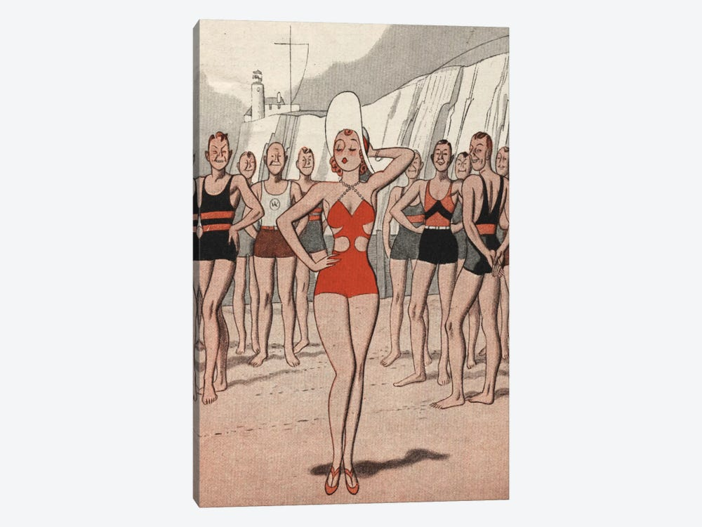 30's Beach Lady by Hemingway Design 1-piece Canvas Art