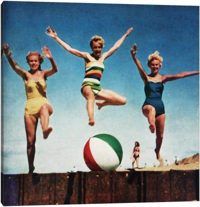 Jumping Girls Canvas Art Print