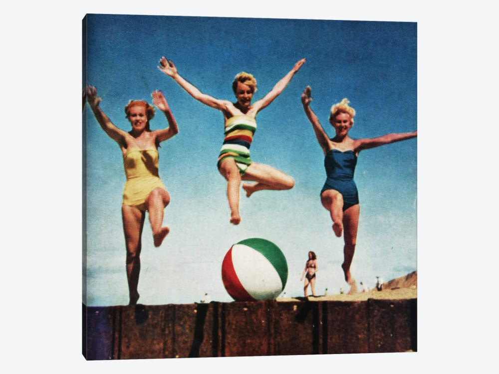 Jumping Girls by Hemingway Design 1-piece Art Print