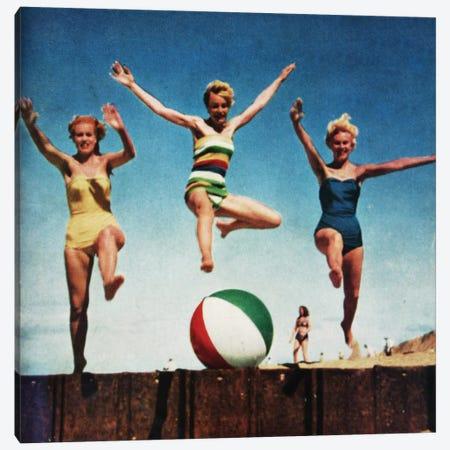 Jumping Girls Canvas Print #HEM48} by Hemingway Design Art Print