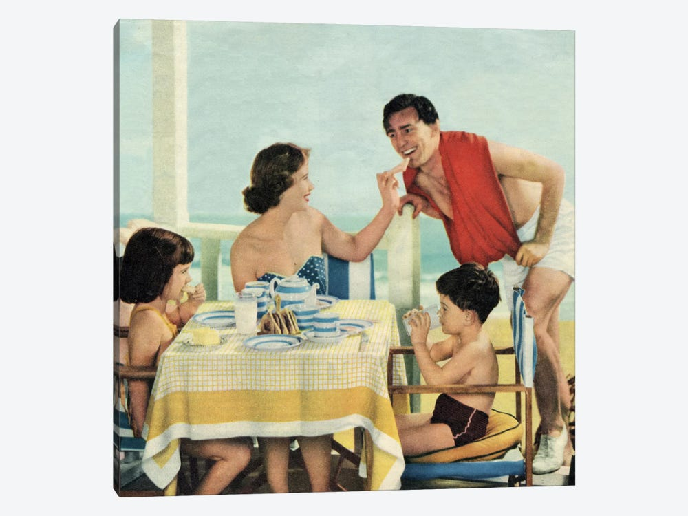 Lunch At The Beach by Hemingway Design 1-piece Canvas Wall Art