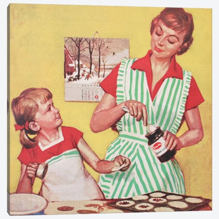 Mother And Daughter Baking Canvas Print #HEM58} by Hemingway Design Canvas Wall Art