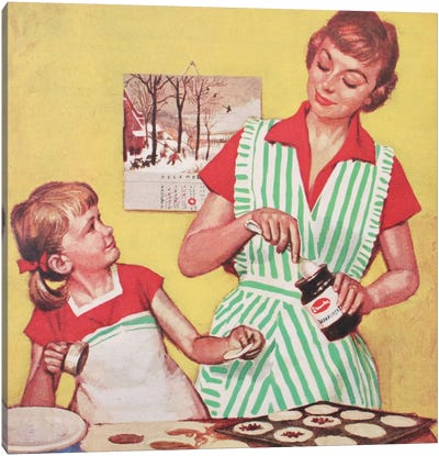 Mother And Daughter Baking Canvas Art Print