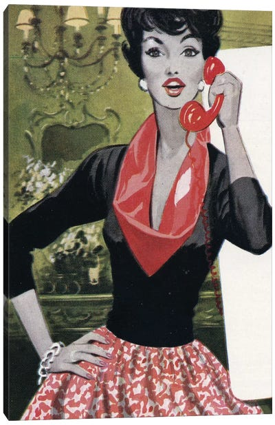 Red Phone, Red Scarf, Red Lips And Red Skirt Canvas Print #HEM67