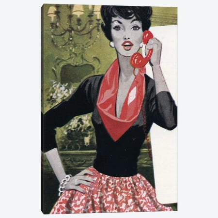 Red Phone, Red Scarf, Red Lips And Red Skirt Canvas Print #HEM67} by Hemingway Design Canvas Art