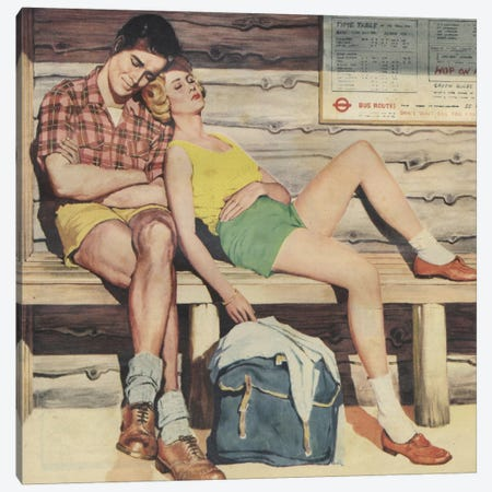 Sleepy Couple Canvas Print #HEM73} by Hemingway Design Canvas Artwork