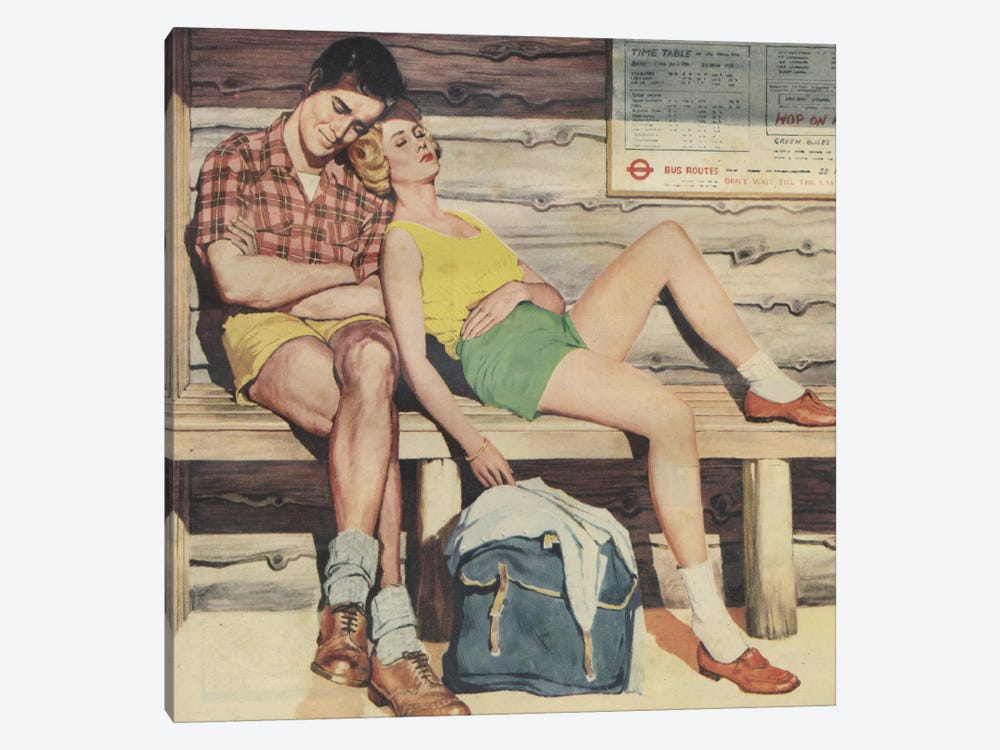 Sleepy Couple by Hemingway Design 1-piece Canvas Print