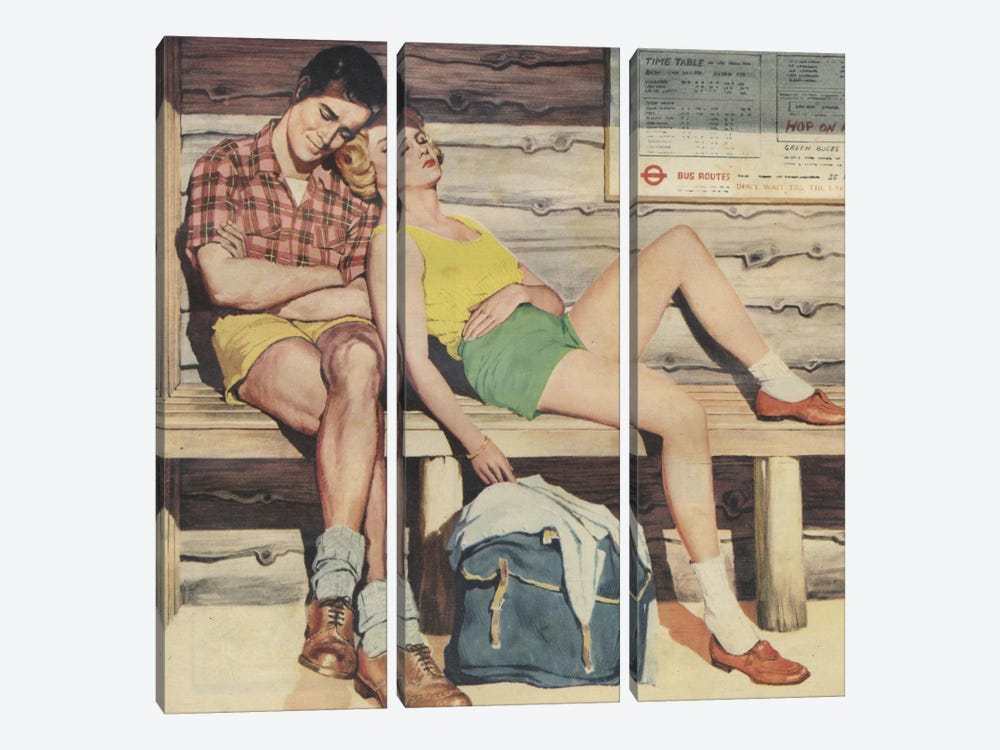 Sleepy Couple by Hemingway Design 3-piece Canvas Art Print