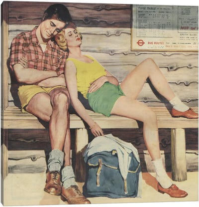 Sleepy Couple Canvas Art Print