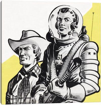 Astronauts And Cowboys Canvas Art Print