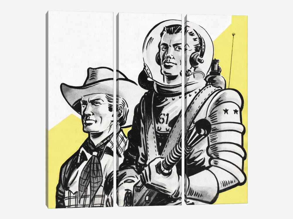 Astronauts And Cowboys by Hemingway Design 3-piece Canvas Art Print
