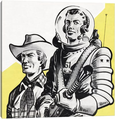 Astronauts And Cowboys Canvas Art Print