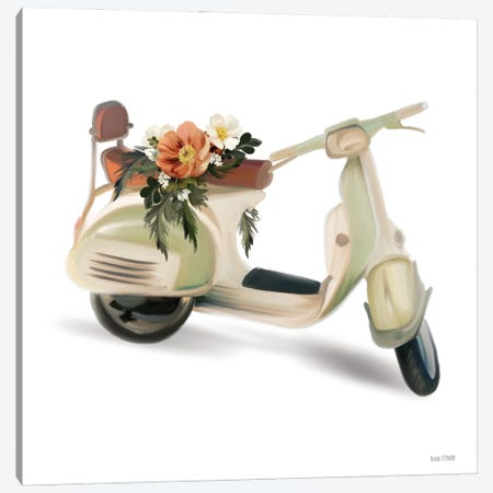 Flower Garden Scooter Canvas Print #HFE107} by House Fenway Canvas Artwork