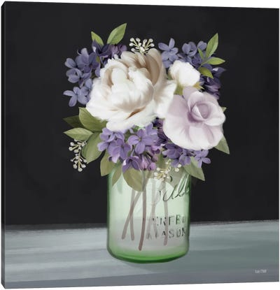 Lilac Mason Jar Floral Canvas Art Print