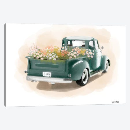 Flower Truck Canvas Print #HFE11} by House Fenway Canvas Wall Art