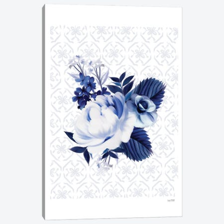 Peony Blossom In Blue Canvas Print #HFE123} by House Fenway Canvas Print