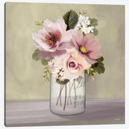 Pink Mason Jar Floral Canvas Print #HFE125} by House Fenway Canvas Art