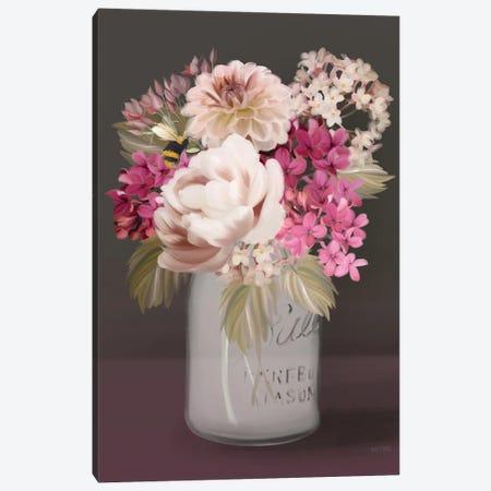 Plum Mason Jar Floral Canvas Print #HFE126} by House Fenway Canvas Wall Art