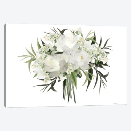 White Boho Bouquet Canvas Print #HFE133} by House Fenway Canvas Wall Art