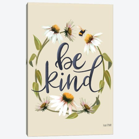 Be Kind Canvas Print #HFE137} by House Fenway Canvas Art Print