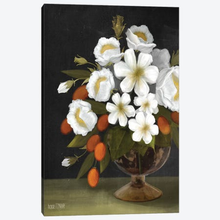 Kumquats And Blooms Canvas Print #HFE13} by House Fenway Canvas Wall Art