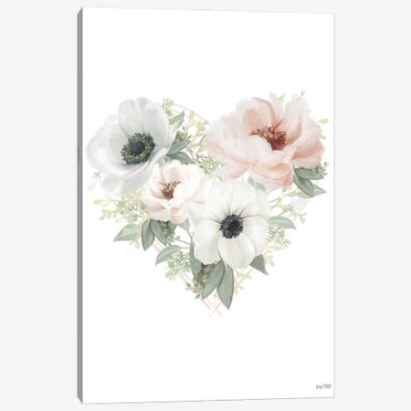 Floral Heart Canvas Print #HFE142} by House Fenway Canvas Print