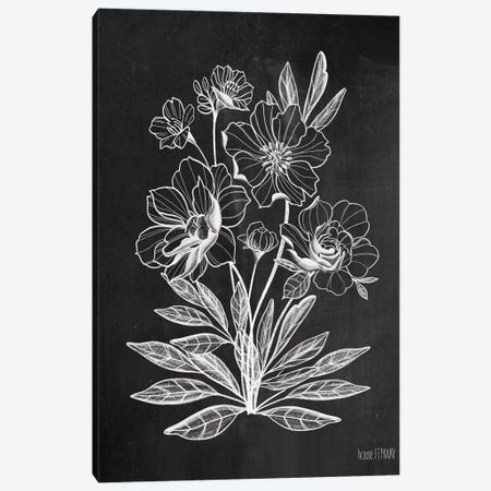 Vintage Chalkboard Flowers Canvas Print #HFE18} by House Fenway Canvas Artwork