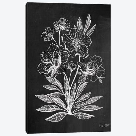 Vintage Chalkboard Flowers Canvas Print #HFE18} by House Fenway Canvas Artwork