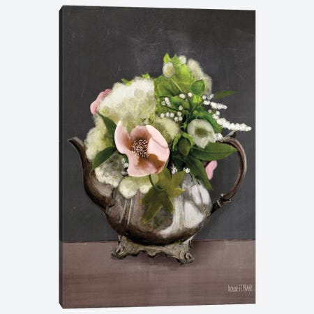 Vintage Floral Tea Pot Canvas Print #HFE19} by House Fenway Canvas Art