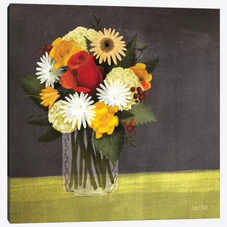 Wildflowers in Mason Jar Canvas Print #HFE25} by House Fenway Canvas Artwork