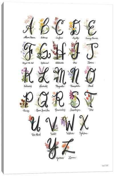 Flower Alphabet in White Canvas Art Print