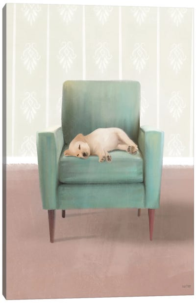 Nap Time Golden Pup Canvas Art Print