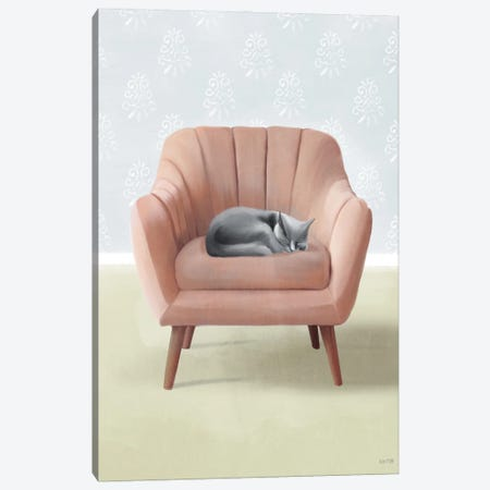 Nap Time Gray Cat Canvas Print #HFE36} by House Fenway Canvas Print