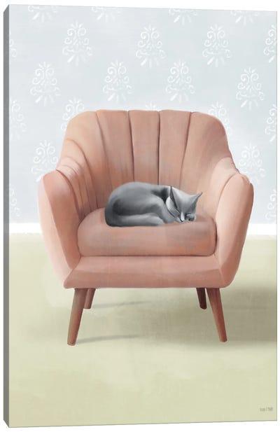 Nap Time Gray Cat Canvas Art Print