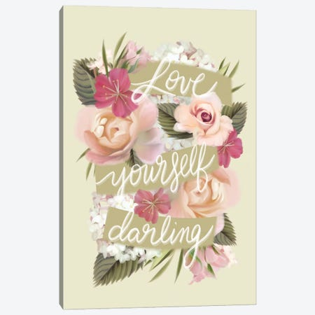 Love Yourself Darling Canvas Print #HFE50} by House Fenway Canvas Wall Art