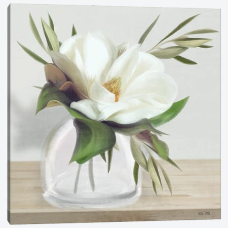 Vintage Magnolia Bloom Canvas Print #HFE69} by House Fenway Art Print