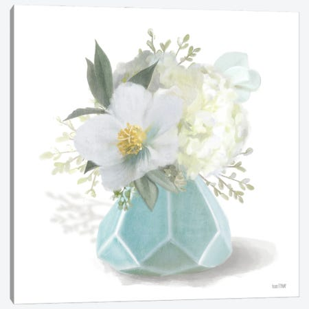 Posies in Blue Canvas Print #HFE82} by House Fenway Canvas Art Print