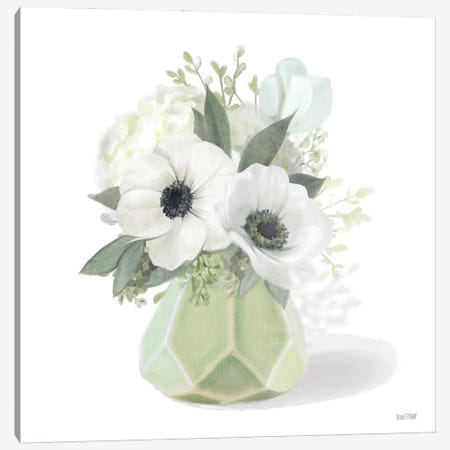 Posies in Green Canvas Print #HFE83} by House Fenway Canvas Art Print