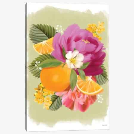 Summer Citrus Floral II Canvas Print #HFE88} by House Fenway Canvas Print