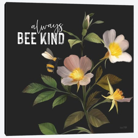 Always Bee Kind Canvas Print #HFE93} by House Fenway Canvas Wall Art