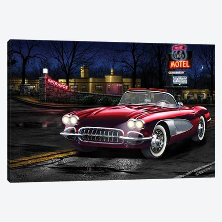 Red Vette 66 Canvas Print #HFL13} by Helen Flint Canvas Art Print