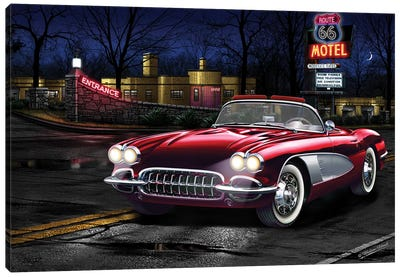 Red Vette 66 Canvas Art Print