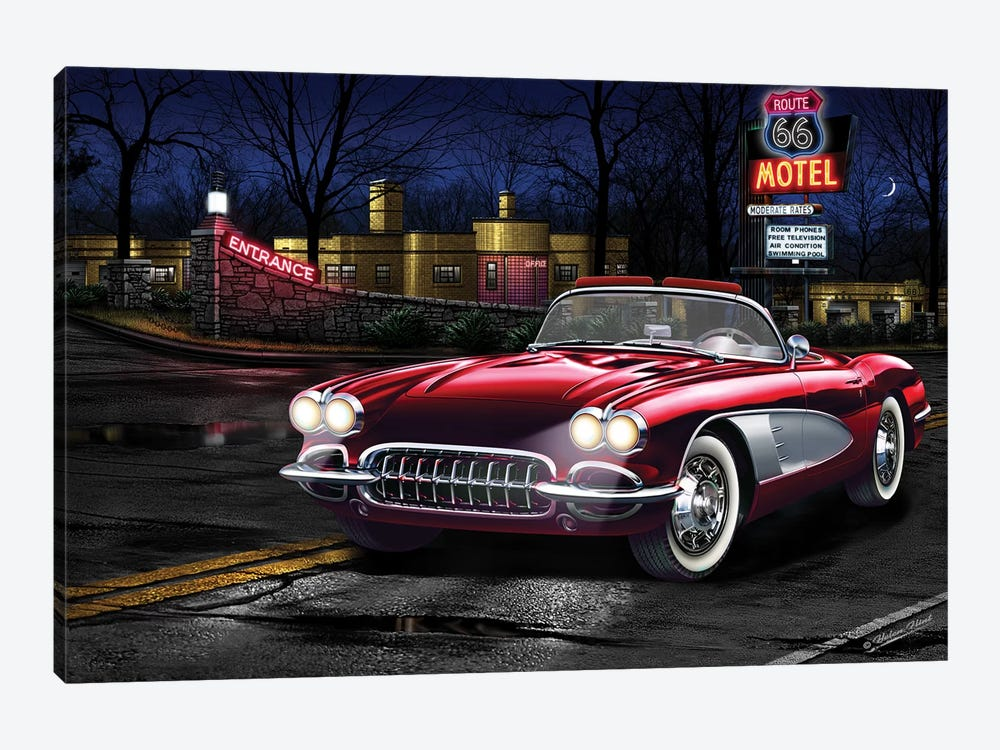 Red Vette 66 1-piece Canvas Wall Art