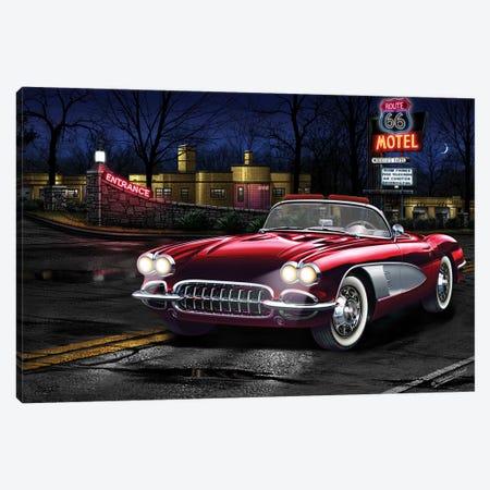 Red Vette 66 Canvas Print #HFL13} by Helen Flint Canvas Art Print