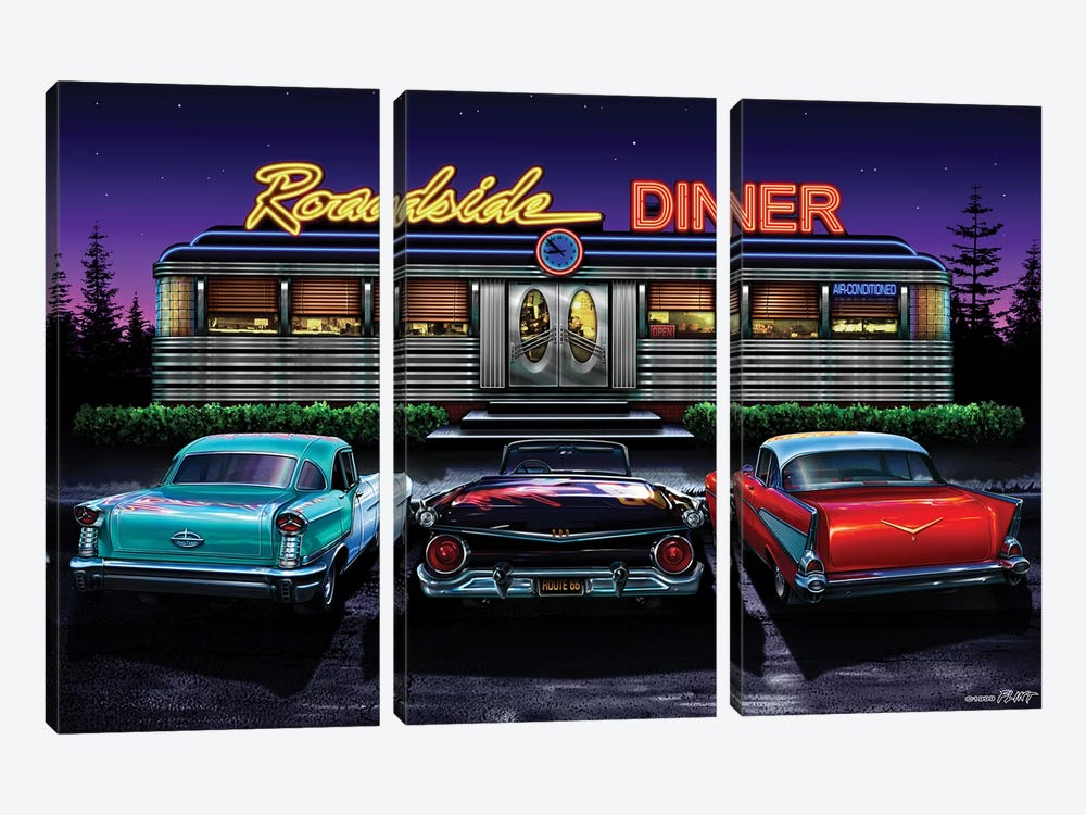 Roadside Diner I by Helen Flint 3-piece Canvas Art Print