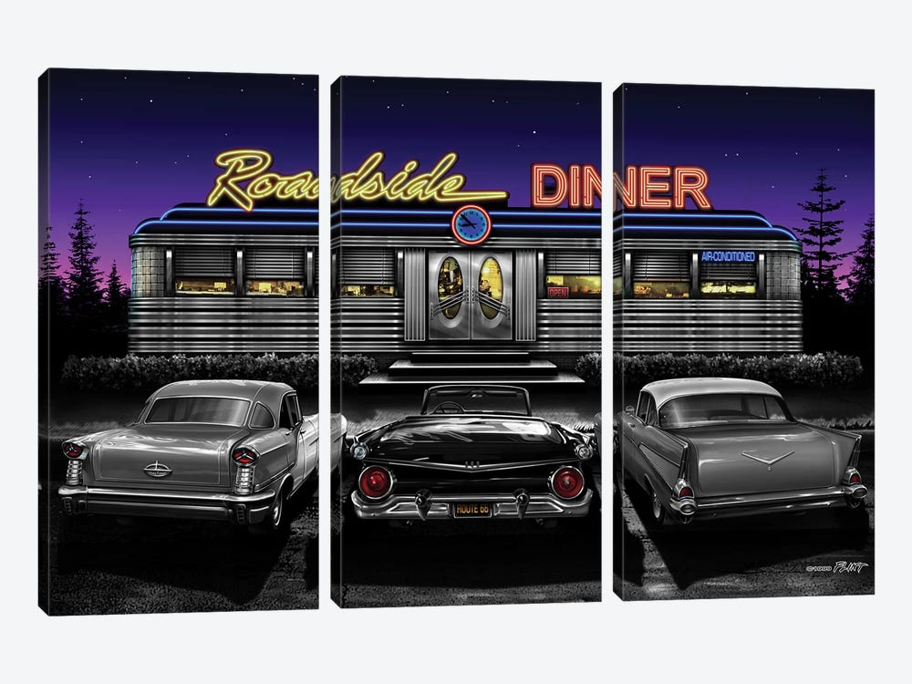 Roadside Diner II by Helen Flint 3-piece Canvas Artwork
